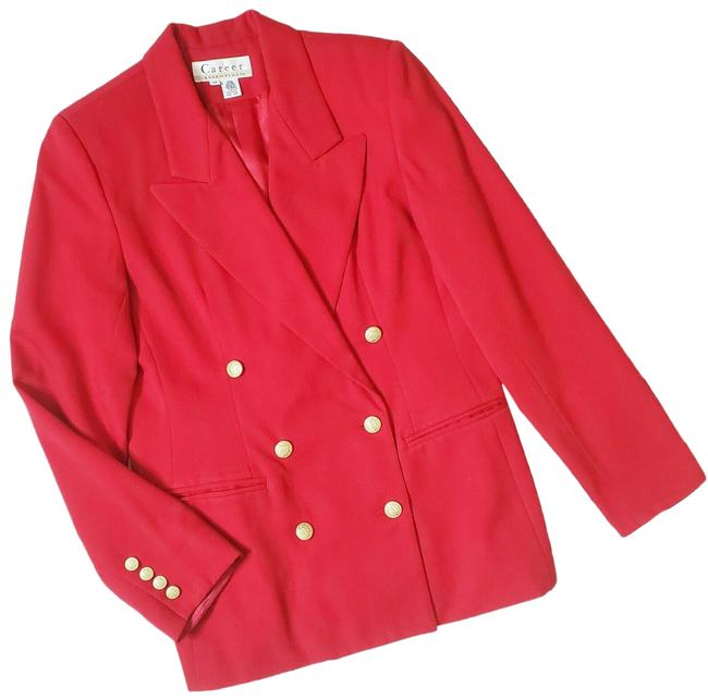 Item - Red Career Essentials Wool Double Breasted Schoolboy Preppy Blazer Size 8 (M)
