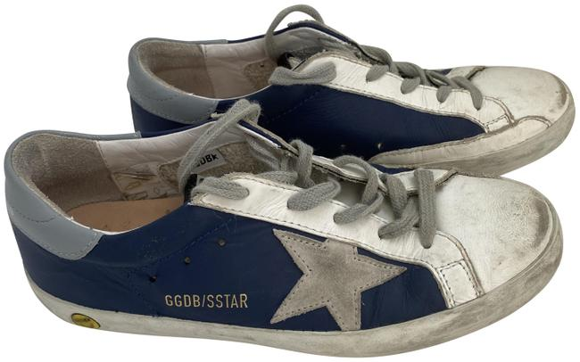 Item - Blue with Gray Star Leather Sneakers Size EU 35 (Approx. US 5) Regular (M, B)