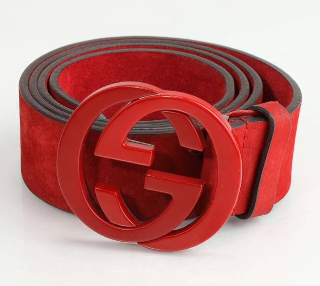 Item - Red Nubuck Interlocking G Belt Men's Jewelry/Accessory