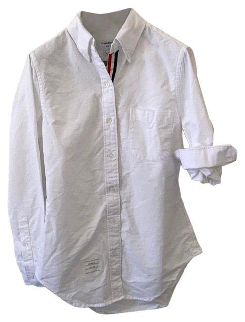 Item - White Classic Long Sleeve Point Collar Shirt Button-down Top Size 12 (L)
