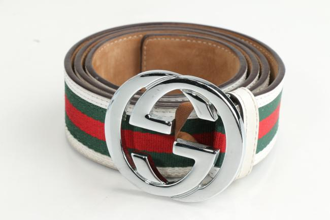 Item - White/Red/Green Web Leather Belt Men's Jewelry/Accessory