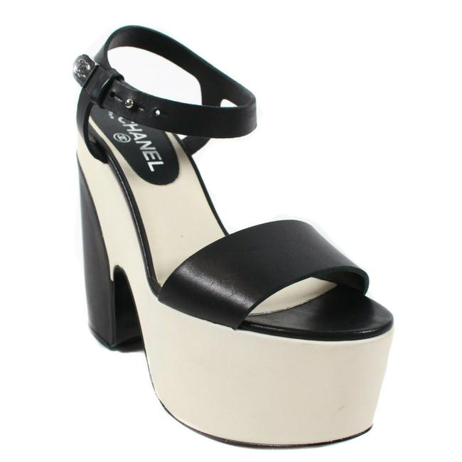 Item - Off-white - Black New: Heels Chunky Ivory Leather Strap Wedge 8 38. Platforms Size EU 38.5 (Approx. US 8.5) Regular (M, B)