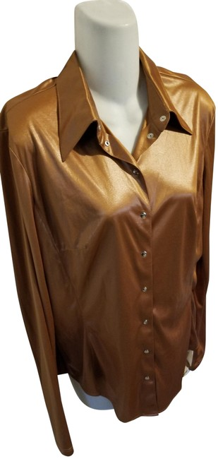 Item - Bronze Slinky Blouse Shirt Snap Front M Spacey Mod Button-down Top Size 8 (M)