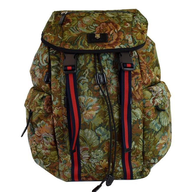 Item - Floral Brocade 429037 Green/Multi Fabric/Leather/Plastic Backpack