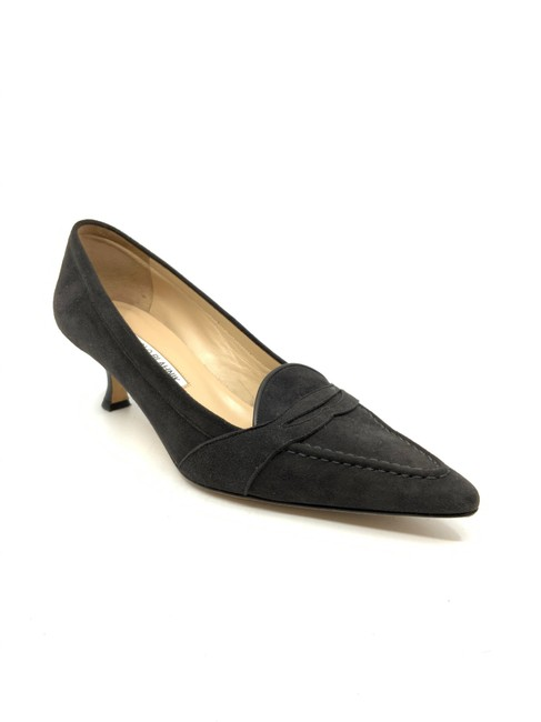 Item - Charcoal Suede Kitten Heel Pointed Toe Penny Loafers Pumps Size US 7.5 Regular (M, B)