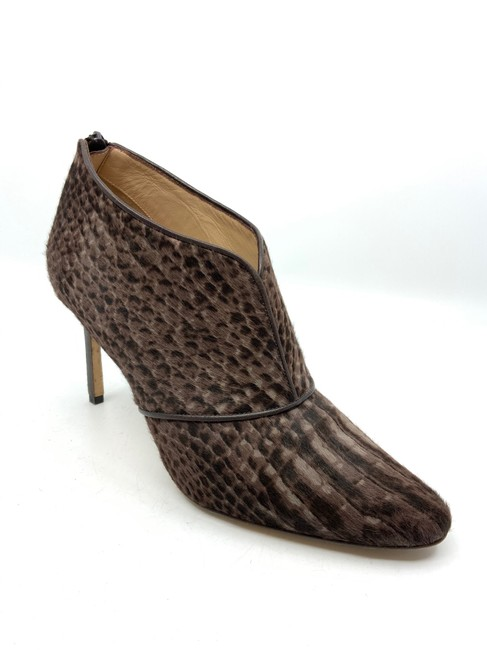 Item - Brown/ Taupe Brown/ Reptile Printed Calfskin Ankle Boots/Booties Size US 9 Regular (M, B)