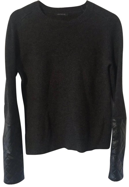 Item - Wool Blend Faux Leather Sleeves Gray Sweater