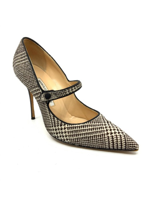 Item - Brown/ White Brown/ Check Printed Calfskin Maryjane Pumps Size US 10 Regular (M, B)
