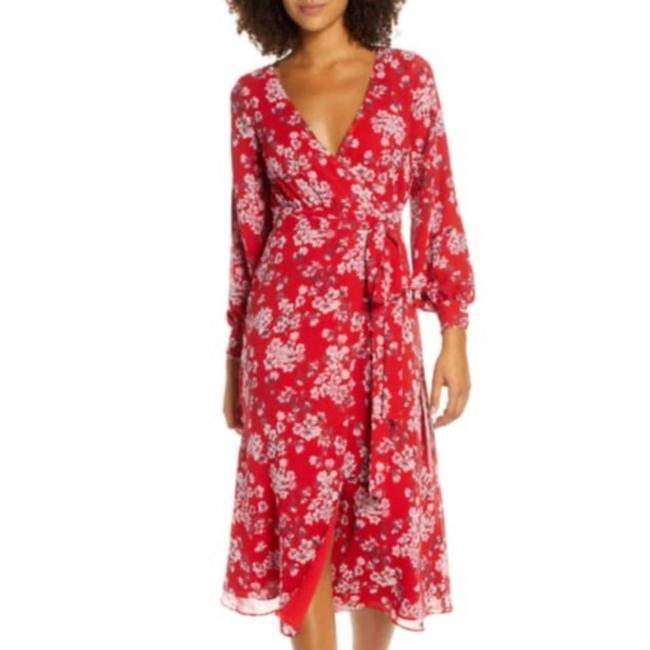 Item - Red Floral Wrap Mid-length Short Casual Dress Size 4 (S)
