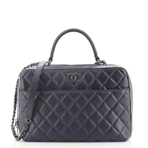 Item - Bowling Bag Trendy Cc Quilted Lambskin Medium Blue Leather Satchel