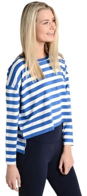 Item - Blue White Sport Performance Striped Long Sleeve Tee Shirt Size 2 (XS)