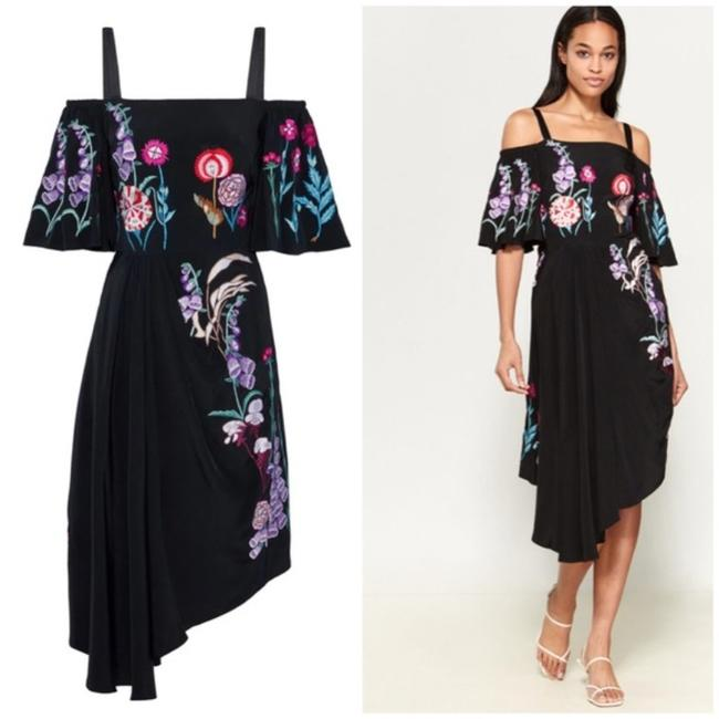 Item - Black Woodland Embroidered Silk Mid-length Cocktail Dress Size 4 (S)
