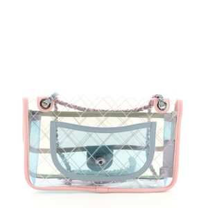 Item - Classic Flap Coco Splash Quilted with Lambskin Medium Blue Clear Green Pink Leather Pvc Shoulder Bag