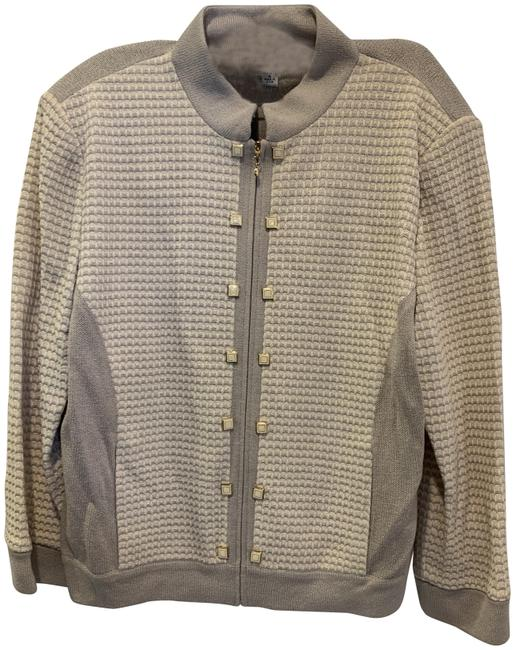 Item - Gray Knit and Cream Zip Up Skirt Suit Size 12 (L)