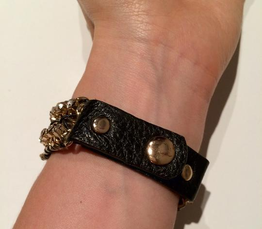 Other Black leather chain and crystals bracelet