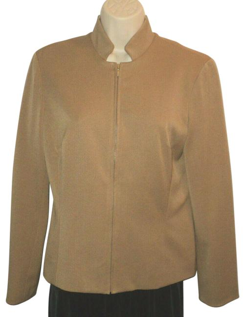 Cache Camel Brown Front Zippered Mandarin Collar Lined Polyester Blend Blazer Size 6 (S) Cache Camel Brown Front Zippered Mandarin Collar Lined Polyester Blend Blazer Size 6 (S) Image 1