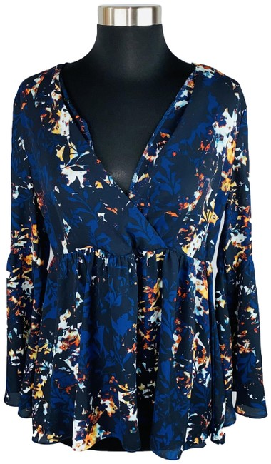Item - Blue Floral Criss Cross Bell Sleeve Blouse Size 8 (M)