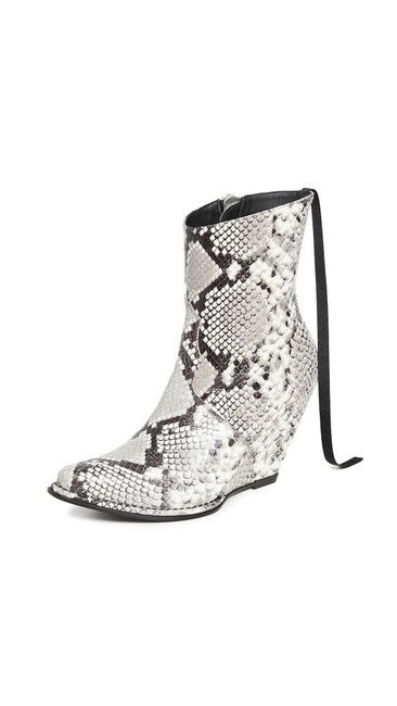 Item - White Black By Ben Tavernini Python Wedge Boots/Booties Size EU 36 (Approx. US 6) Regular (M, B)