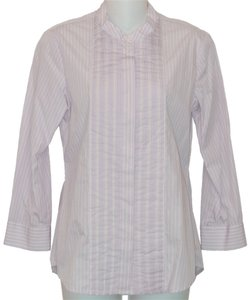 Theory Cotton Striped Button Down Shirt Purple