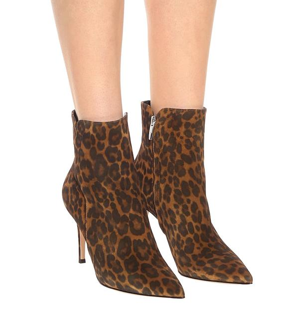 Item - Black Brown Leopard Print Suede Ankle Boots/Booties Size EU 39.5 (Approx. US 9.5) Regular (M, B)