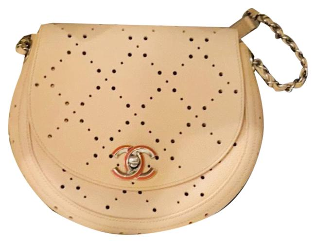 Item - Classic Flap Classic Perforated Saddle Purse Cream Warm Beige and Coral Mix Calfskin Leather Cross Body Bag