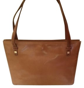 Kate Spade Tan Leather Lined In Suede Satchel in beige