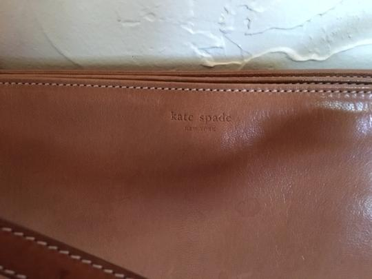 Kate Spade Tan Leather Lined In Suede Envelope Style Made In Italy Satchel in beige