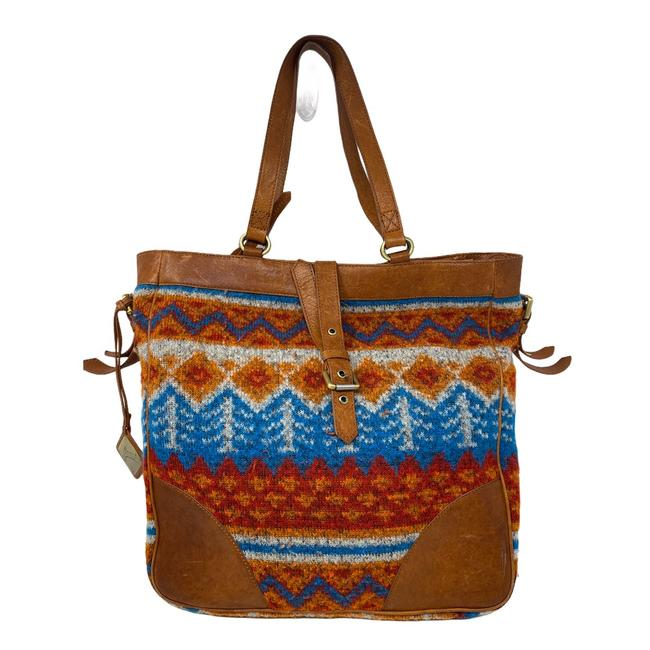 Item - Southwestern Print Multicolor Fabric and Leather Tote