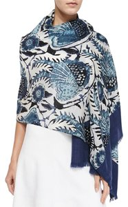 Tory Burch Wool Navy Bird Of Paradise Scarf