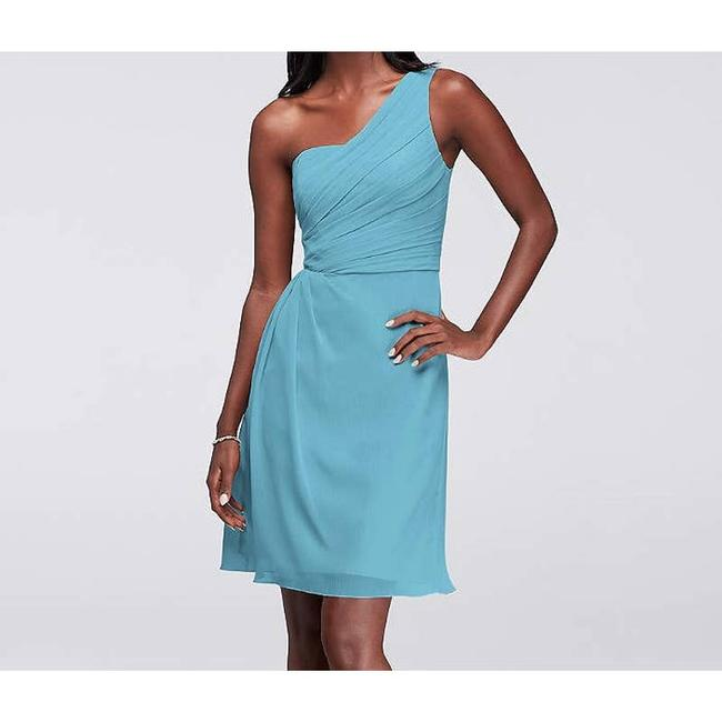 Item - Blue Crinkle Chiffon One-shoulder Above Knee Modern Bridesmaid/Mob Dress Size 16 (XL, Plus 0x)