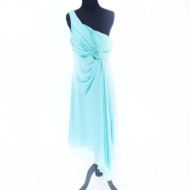 Item - Blue Crinkle Chiffon One Shoulder Above Knee Modern Bridesmaid/Mob Dress Size 12 (L)