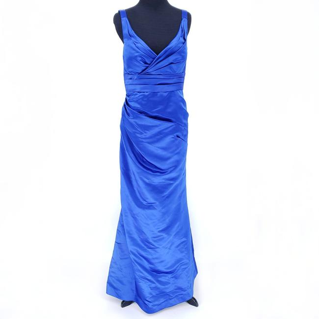 Item - Blue Satin Floor Length Royal Trumpet Style Formal Bridesmaid/Mob Dress Size 6 (S)