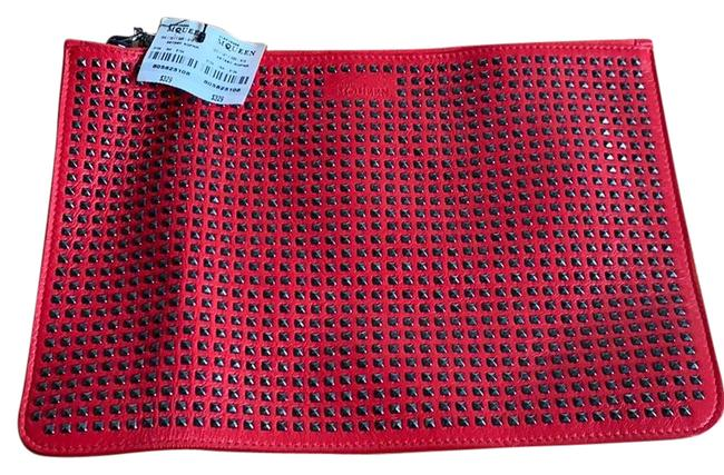 Alexander McQueen Studded Red Leather Clutch Alexander McQueen Studded Red Leather Clutch Image 1