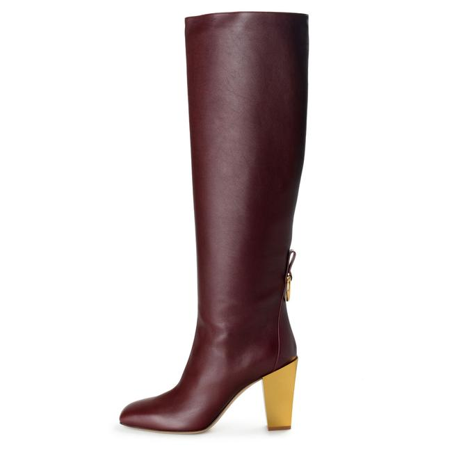 """Item - Burgundy Red Women's """"Blavy"""" Leather High Boots/Booties Size US 9 Wide (C, D)"""