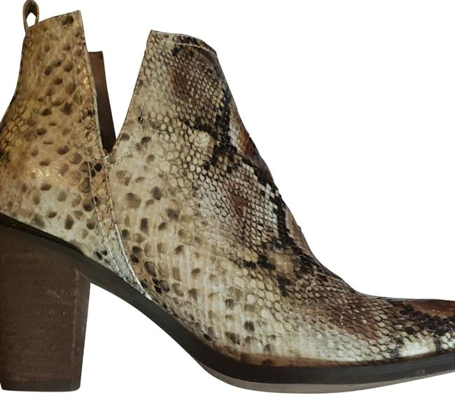 Item - Brown and Beige Snake Skin Style Cowboy Boots/Booties Size US 9 Regular (M, B)