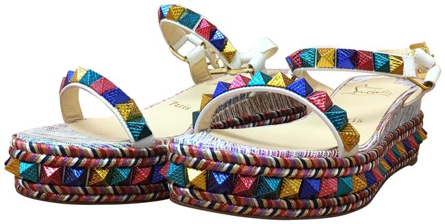 Item - Multicolor Pyraclou Spiked Metallic Textured Leather Wedge Sandals Size EU 37 (Approx. US 7) Regular (M, B)