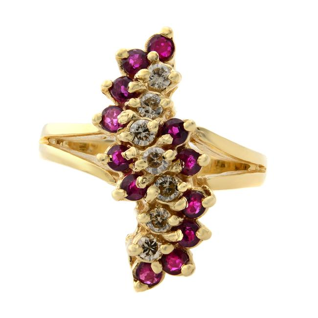Item - 14k Yellow Gold Vintage Diamond & Ruby Cocktail Ring