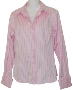 Thomas Pink Pinstripe Button Down Shirt Pink