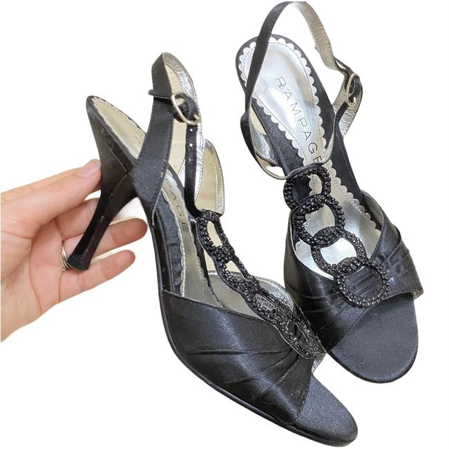 Item - Black Posie T-strap Satin Heels Formal Shoes Size US 7.5 Regular (M, B)