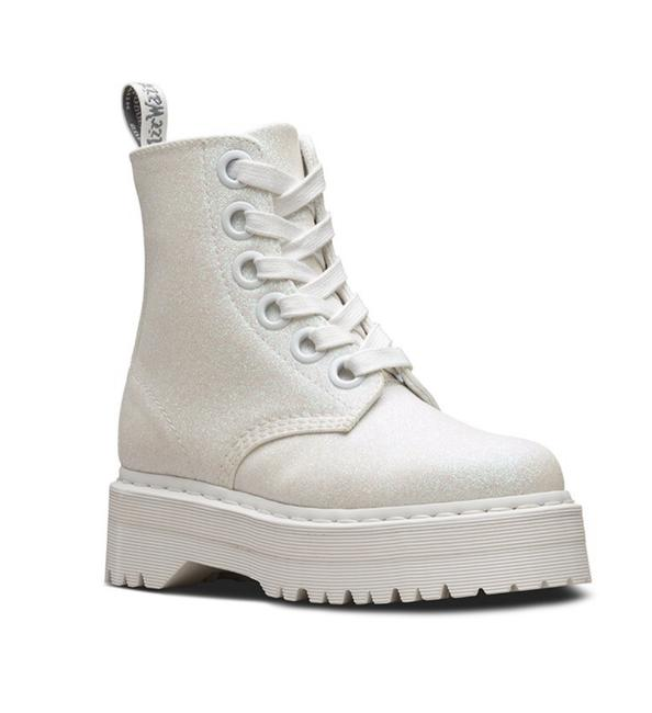 Item - White Molly Fine Glitter Boots/Booties Size US 7 Regular (M, B)