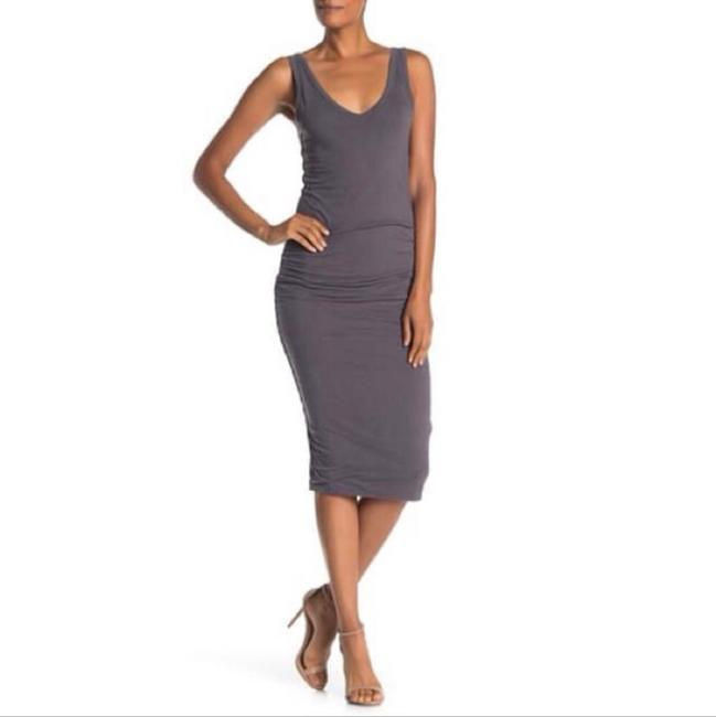 Item - Grey Skinny Ruched Tank Mid-length Casual Maxi Dress Size 4 (S)