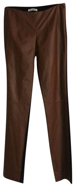 Item - Brown and Black Leather Front Pants Size 0 (XS, 25)