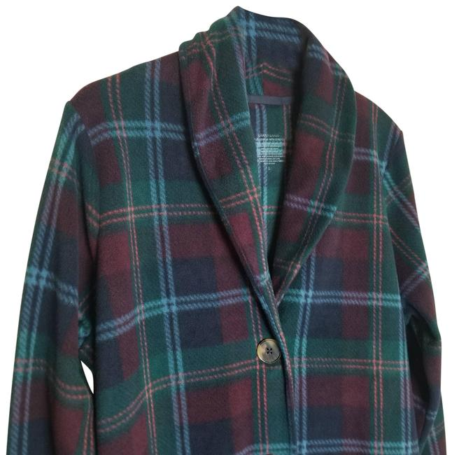 Item - Blue L Fleecewear Plaid Jacket Activewear Size 12 (L)
