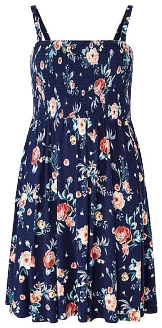 Item - Navy Super Soft Floral Skater Strapless Short Casual Dress Size 28 (Plus 3x)