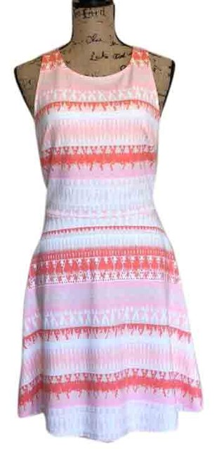 Item - Pink and Ivory Sleeveless Mid-length Short Casual Dress Size 8 (M)