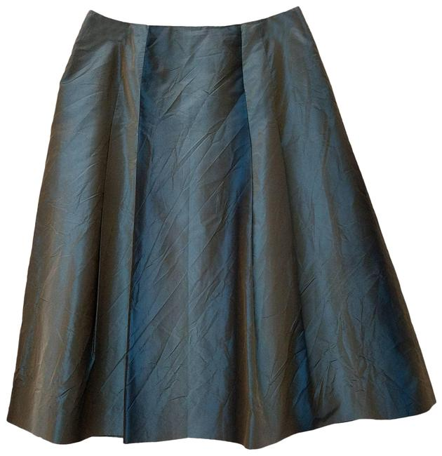 Item - Green Pure Silk A-line Crinkle Texture Shimmery Skirt Size 8 (M, 29, 30)