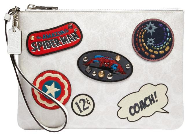 Item - 3576 Marvel Gallery Pouch In Signature Canvas with Patches Chalk Multi Pvc Wristlet