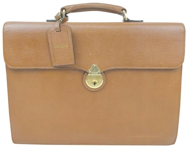 Item - W Briefcase/Laptop and Luggage Tag Brown Leather/Plaid Lining Leather/Wool Laptop Bag