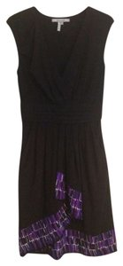 Max and Cleo short dress Black with Purple on Tradesy