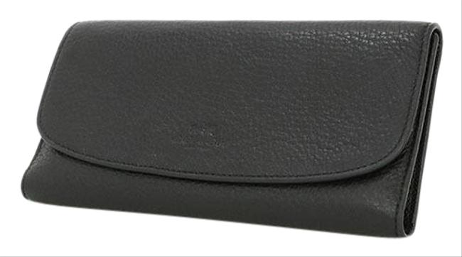 Item - Black Pebbled Leather Tri-fold Checkbook Women's Men's F56488 Wallet